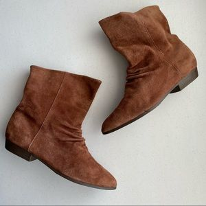 Bootalinos Tan Suede Leather Almond-toe Ankle Boot